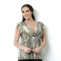 Attitudes by Renee Animal Print Top with Ring Detail New Size 2XL XXL Grey