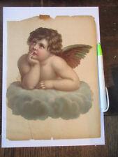 wunderschöne alte XXL Oblate Glanzbild Engel um 1890 ca. 20 x 18 cm