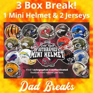 PITTSBURGH STEELERS Signed Gold Rush Mini Helmet +2 Autographed Jersey BOX BREAK