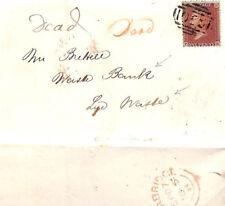 "MS1284 1855 GB WORCS RETOUR *Stourbridge* Penny Red Cover ""Dead"" LYE WASTE BANK"
