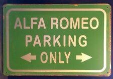 Alfa Romeo Parking Only Metal Sign / Vintage Garage Wall Decor (30 x 20cm)
