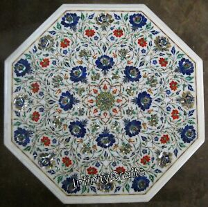 Lapis Lazuli Stones Inlaid Marble Coffee Table Top Octagon Side Table 18 Inches