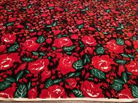 VTG Couleur International Black And Red Floral Velvet Fabric 2 Yards 1970s Boho