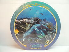 """Dolphins Fish Coral Reef Ocean Puzzle Mothers Love Lassen 750pc 24"""" Round SEALED"""