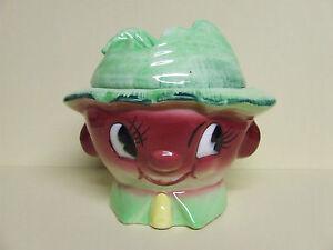 Vintage ESD/Lefton/Miyawo Anthropomorphic Jam/Condiment Jar/Pot (Japan,#0T7078)