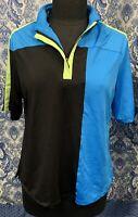 JAMIE SADOCK M Medium Short Sleeve Black Blue Golf Shirt EUC