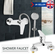 Modern Copper Wall Mounted Manual Shower Head Mixer Control Valve Single Hole UK