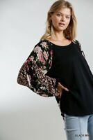 Umgee Floral Animal Print Long Sleeve Tunic Top Size Small