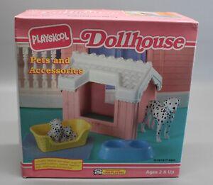 NOS Vintage Playskool Dollhouse Pets Dog House Dalmatian Dog Puppies Bed Bowls