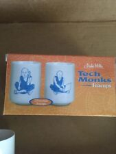 Set Of 2 Porcelain Tech Monks Tea Cups Bhudists With Laptop Cell Phone New!