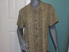 Womens Emma James Liz Claiborne Co. S/S B/D Top Shirt Blouse Brown Size 14 EUC