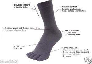 1pr LOVE LIFE COTTOn DIGITAL BLACK ANKLE TOE SOCKS SIZE UK5-10 AF ATHLETES FOOT