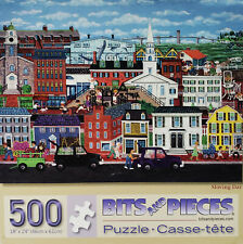 Bits and Pieces Moving Day Folk Art Busy City Life Scene 500 Piece Jigsaw Puzzle