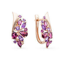 SOKOLOV Russian Solid Rose Gold 585/14k Earrings with Amethysts and Rhodolites