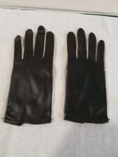 Vintage Black Flaux leather Gloves Trimmed in White 8 inches long