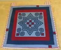 Appliquéd Wall Quilt, Scrolls, Stars, Squares, Cranberry, Navy, Blue, Solids