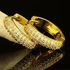 Ohrringe Creolen Ø 18 mm Zirkonia weiss Echt 750 Gold 18 Karat vergoldet O2152