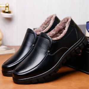 Mens Fleece Lined Winter Warm Shoes Casual Slip On Flats Oxfords Comfort Loafers