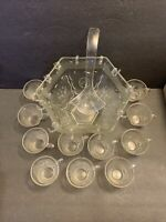 HAZEL ATLAS AMERICANA Set Of Punch Bowl & 11 Cups FEDERAL GLASS EAGLE STARS VTG