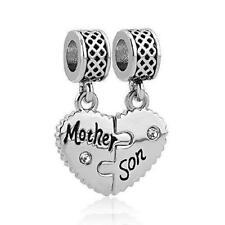LilyJewelry Mom Mother Son Love Heart Charm Beads For Snake Chain Bracelet...