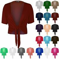 Plus Size Ladies Women Short Sleeve Cardigan Knot Tie Bolero Wrap Shrug Crop Top