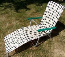 New listing Sunbeam Vtg Aluminum Folding Webbed Lawn Chair green white beach lounge