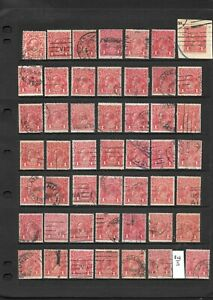 Stamps Australia Bulk 1d Red KGV Heads x 49 Good/Fine Used w/ Die 11, + engraved