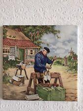 """Vintage Mosa Tile 6""""x6"""" Made in Holland Signed J C Van Hunnik Village Shoemaker"""