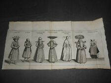 1700 Copper Engraving France Costumes of Strasbourg woman