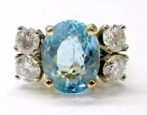 Fine Aquamarine Diamond Anniversary Solitaire with Accent Jewelry Ring YG 6.32Ct
