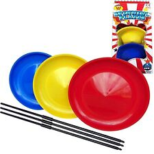 Circus Spinning Plates Set of 3 Outdoor Jugglings With Sticks Game Toys