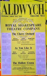 1961 POSTER RSC Aldwych Theatre Gielgud Dorothy Tutin Ashcroft Vanessa Redgrave