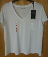M & S White V-Neck Short Sleeve T-Shirt With Linen Size 18 BNWT