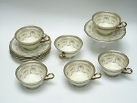 6 pcs VINTAGE ROSENTHAL CONTINENTAL FLORENTINE CHIPPENDALE FOOTED CUP & SAUCER