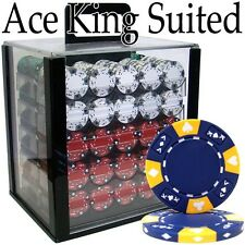 New 1000 Ace King Suited 14g Clay Poker Chips Set w/ Acrylic Case - Pick Chips!