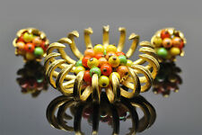 Vintage Mid Century Modern Atomic Fruit Salad Brooch & Earrings