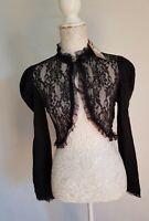Womens Black Gothic Victorian Steampunk Lace Funeral Romantic Bolero  Top XL