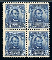 USAstamps Unused FVF US 1902 Lincoln Block Scott 304 OG MHR