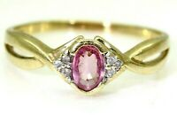 Dainty Pink Sapphire & Diamond 9ct Yellow Gold ring size V ~ US 10 3/4