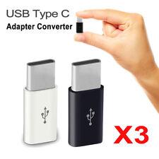 3PCS USB Type C Male Connector to Micro USB Female Converter Adapter OTG Black