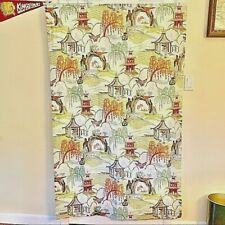 Handmade Robert Allen Chinoiserie Toile Pagoda Curtain Panels