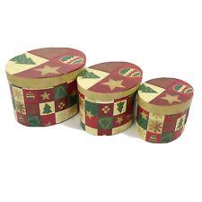 Set Of 3 Christmas Stacking Nesting Boxes Storage Decoration Retro Vintage