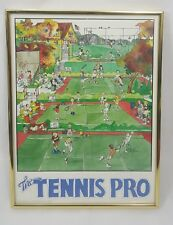 "Tennis Pro by John Holladay Vintage 80's Framed Poster 1985 12""X16"" Sports Fan"