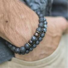 Handmade Mala Bracelet Meditation Classic 6mm 1 Pair Natural Lava Stone