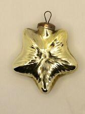 Vintage Antique? Kugel? German? Glass Star Ornament Gold Ornament Brass Cap