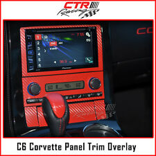 C6 Corvette Radio CD Player Panel Overlay Trim Decal Red Carbon Fiber 2005-2013