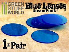 1x Paire verres pour Lunettes Steampunk - couleur Bleu