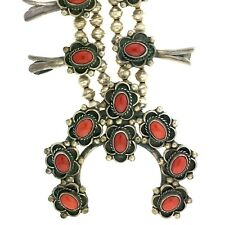 Native American Sterling Silver Orange Red Coral Squash Blossom Necklace