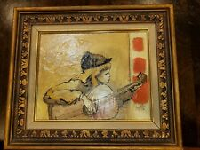 MARGE MILLS Vintage Acrylic Painting  Boy Playing Guitar