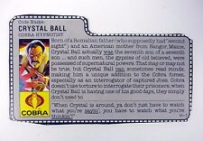 GI JOE CRYSTAL BALL FILE CARD Vintage Action Figure GREAT SHAPE 1987